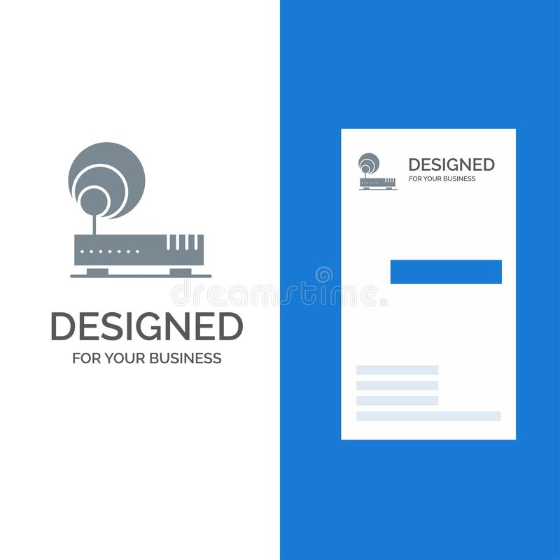 Connection, Hardware, Internet, Network Grey Logo Design and Business Card Template stock illustration