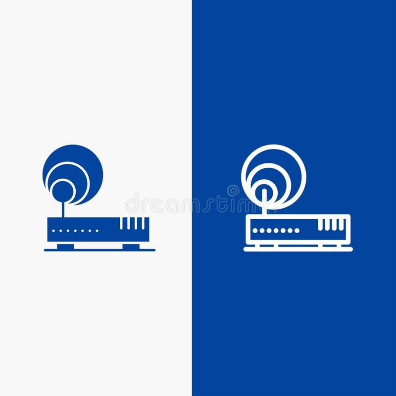 Connection, Hardware, Internet, Network Line and Glyph Solid icon Blue banner Line and Glyph Solid icon Blue banner vector illustration