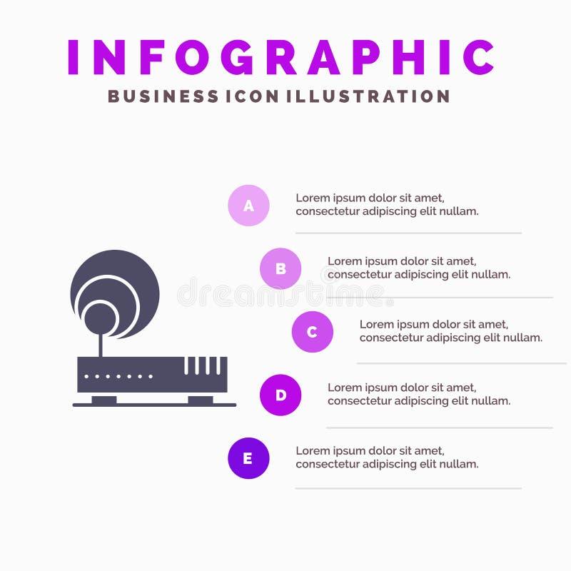 Connection, Hardware, Internet, Network Solid Icon Infographics 5 Steps Presentation Background stock illustration