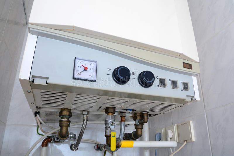 Connection of home water heater. Individual heating. Individual hot water supply. royalty free stock photo