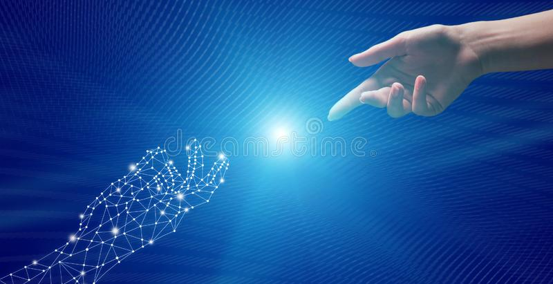 Connection Between Human and Virtual World, Reaching Each Other royalty free stock photos