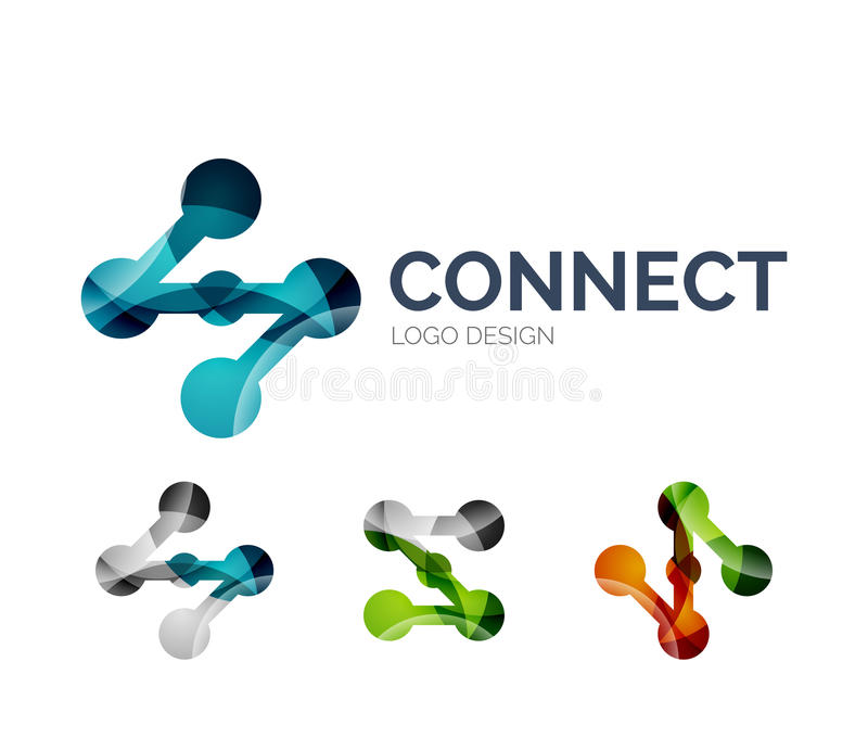 Connection icon logo design made of color pieces vector illustration