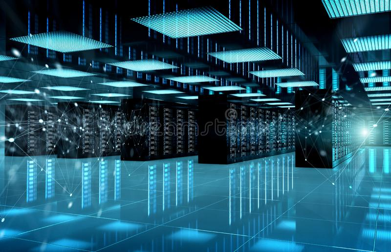 Connection network in servers data center room storage systems 3D rendering royalty free stock photos