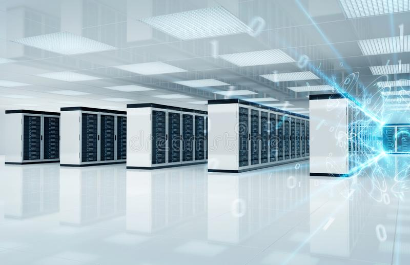Connection network in servers data center room storage systems 3D rendering royalty free stock images