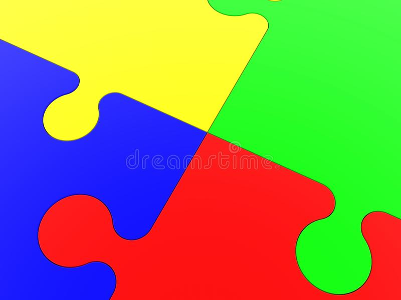 Connection point closeup between four pieces of a puzzle. In background vector illustration