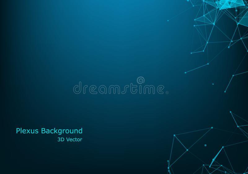 Connection science background. Modern polygonal technology with lines and dots. Background Polygonal Cyber Structure. Data Connection Concept royalty free illustration