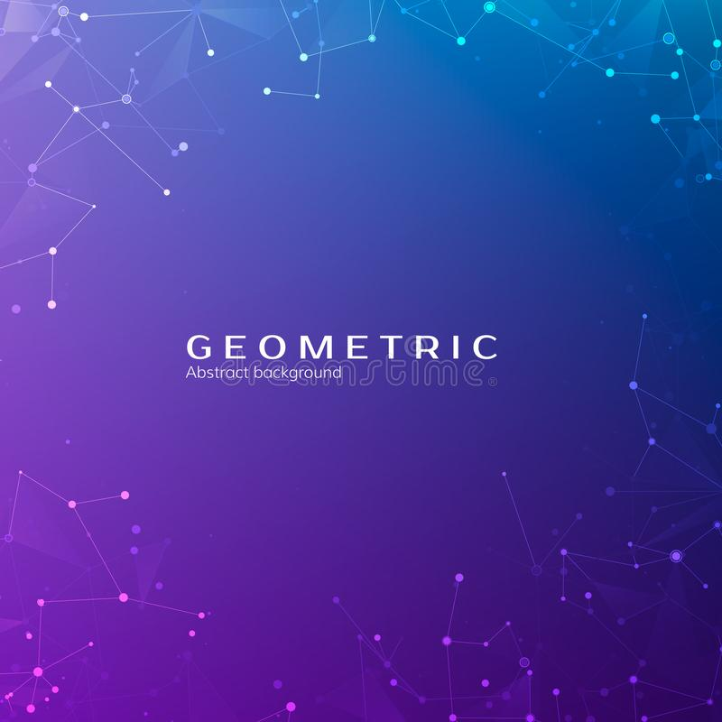 Connection structure. Particles in space. Abstract polygonal space low poly dark background with connecting dots and lines. Vector stock illustration