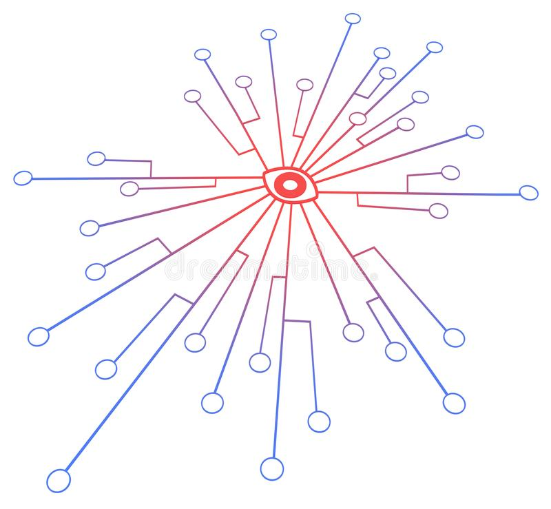 Connection System Red Eye. Circles linked by lines connection system red eye symbol center, over white, isolated, horizontal 3d illustration vector illustration