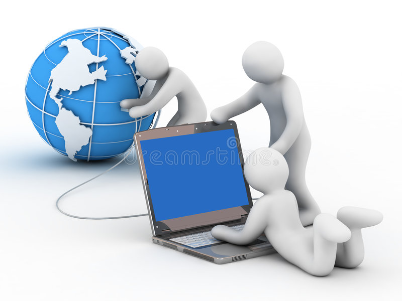 Connection to Internet. Globe, group of the people and notebook on white background