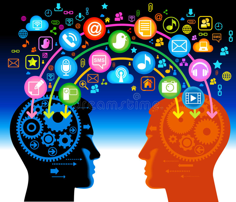 Connection two persons. Social network, communication in the global computer networks