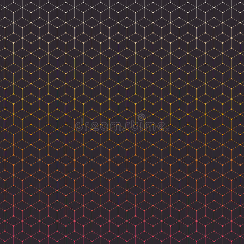 Connections. Abstract background with many gradient colored hexagons with circles on vertexes, dots connected with lines stock illustration