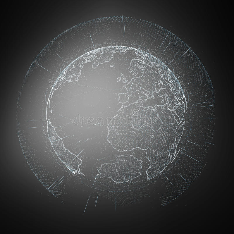 Connections and datas exchanges over the planet Earth 3D renderi. Connections and datas exchanges over the planet Earth on dark background 3D rendering royalty free illustration