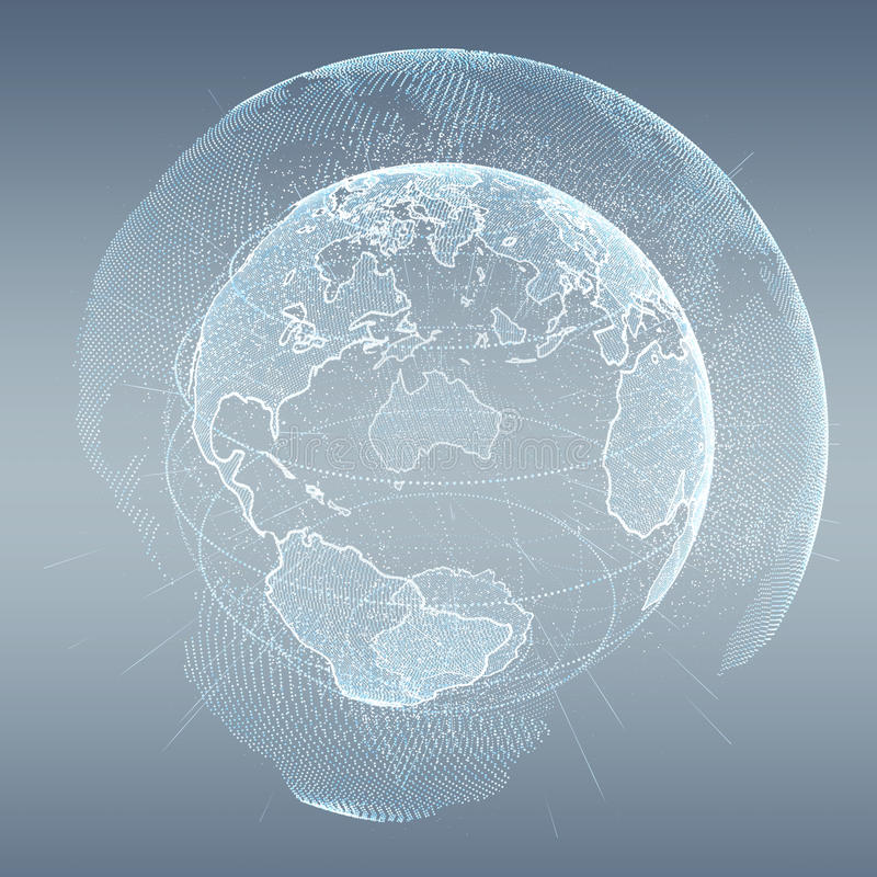 Connections and datas exchanges over the planet Earth 3D rendering. Connections and datas exchanges over the planet Earth on grey background 3D rendering royalty free illustration