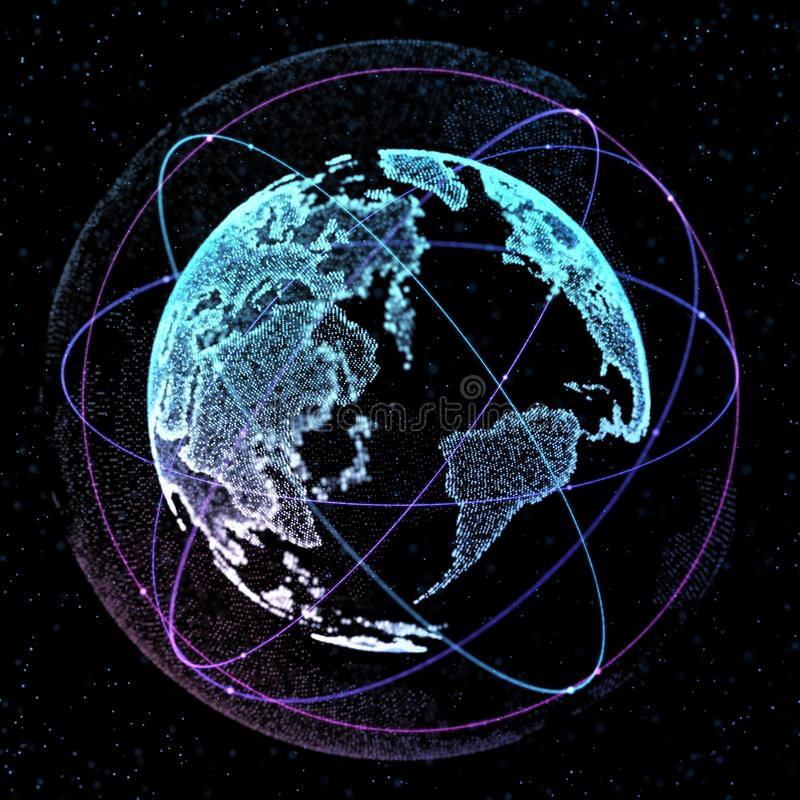 Connections global communication orbits in the world map view on download connections global communication orbits in the world map view on dark space background 3d gumiabroncs Gallery