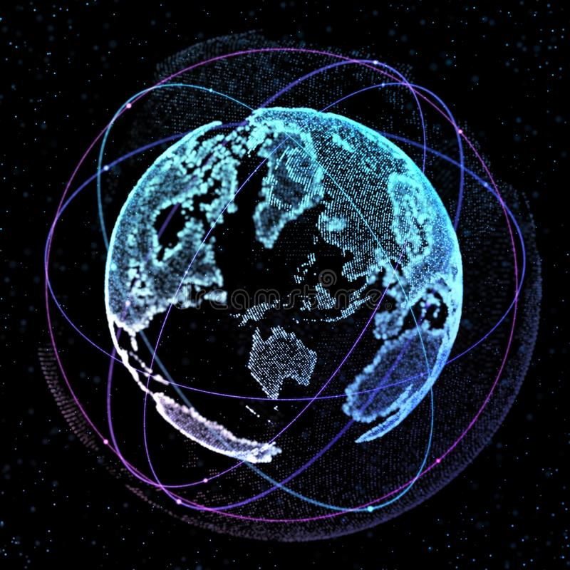 download connections global communication orbits in the world map view on dark space background 3d