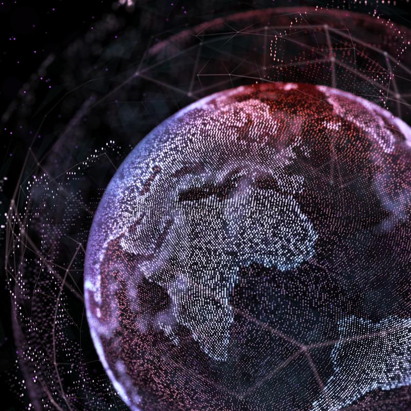 Connections global communication in the world map view on dark space download connections global communication in the world map view on dark space background 3d illustration gumiabroncs Gallery