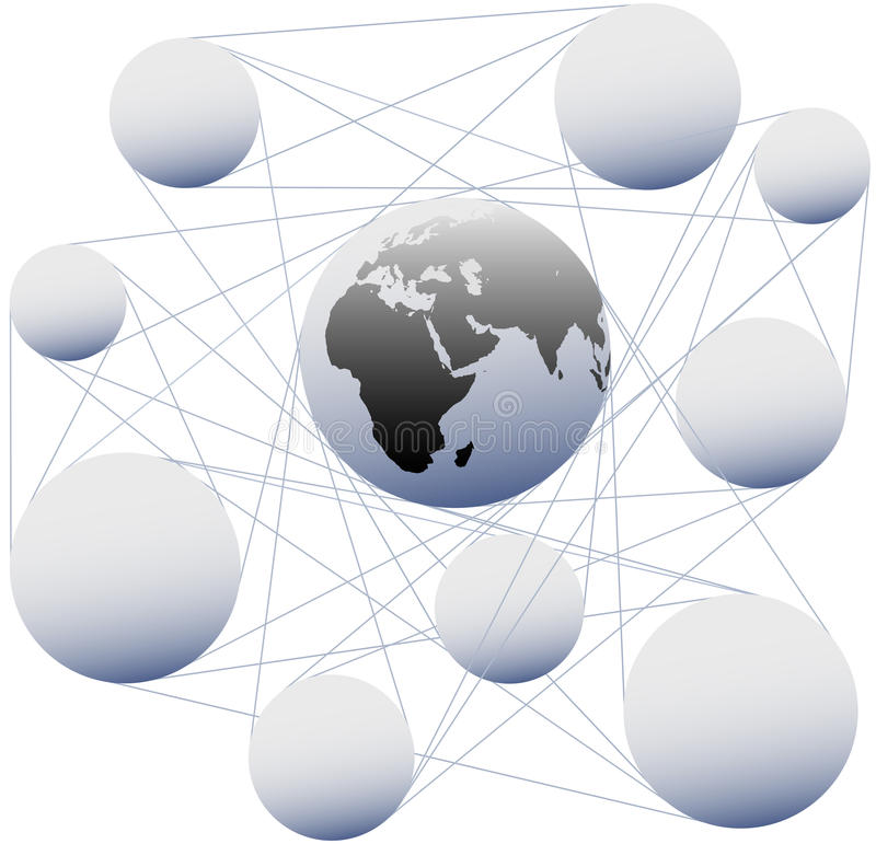 Connections join sphere Earth in global network. Connections join sphere copy space nodes and Earth in global network system royalty free illustration
