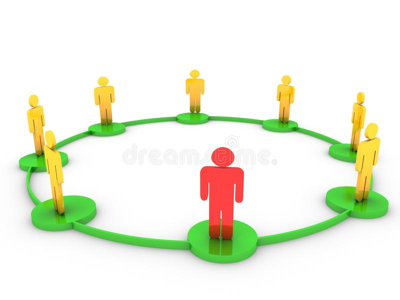 Connections people - 3D illustration stock illustration