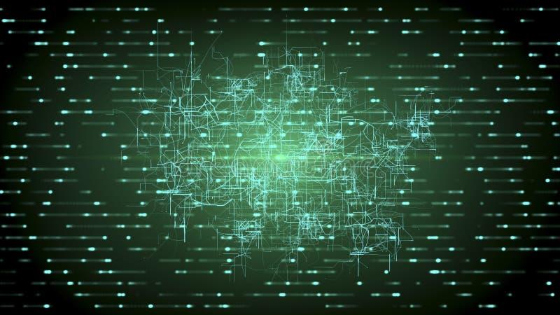 Connectivité de Digital, intelligence artificielle et concept de stockage de données Connexions naissantes, conducteurs et signau illustration stock