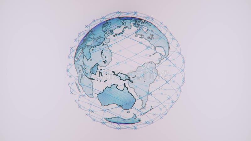 Connectivité sans fil de wifi de données d'Internet par un système global des satellites de télécommunication dans rendre l'anima illustration libre de droits