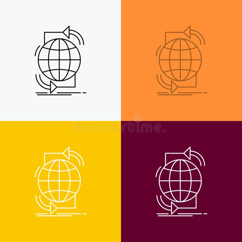 Connectiviteit, globaal, Internet, netwerk, Webpictogram over Diverse Achtergrond r Eps 10 stock illustratie