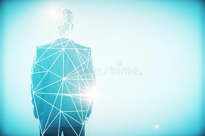 Connectivity concept. Back view of young businessman with polygonal pattern on abstract blue background. Connectivity concept. Double exposure royalty free stock photo
