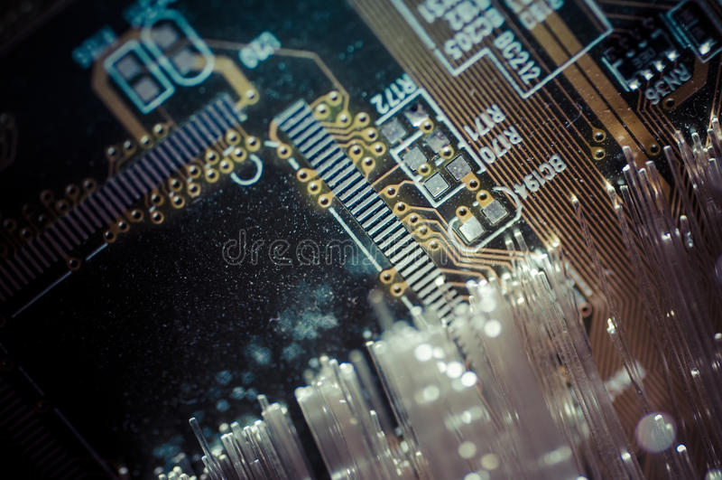 Connectivity.Fiber optic cables, fibre connection, telecomunications concept. stock image