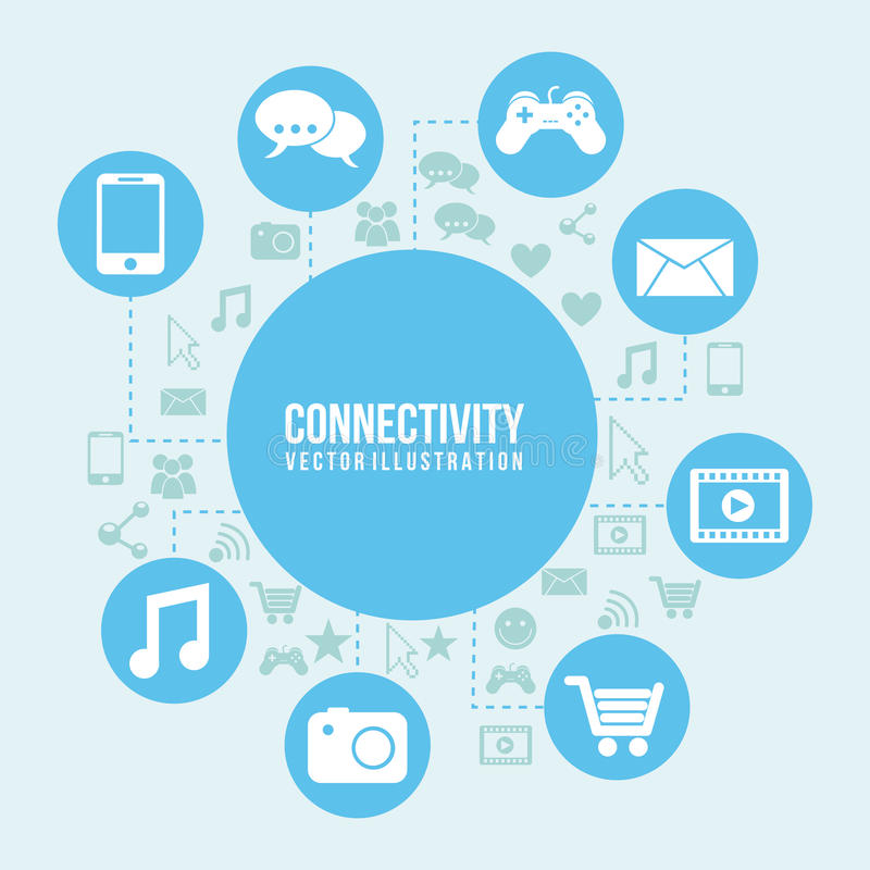 Connectivity icon. Over blue and icon background illustration vector illustration