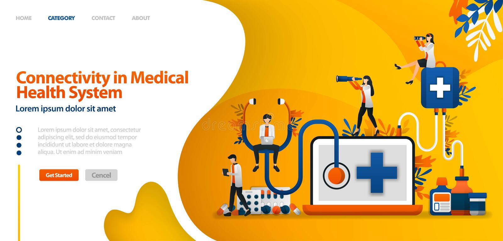 Connectivity in Medical health System. software in drug service and patient history .vector illustration concept can be use for la stock illustration