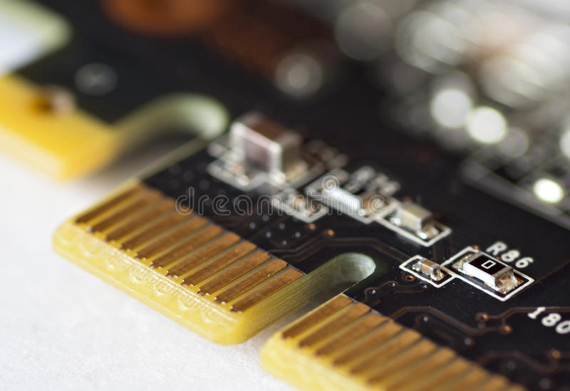 Connector of expansion card. Close-up royalty free stock image