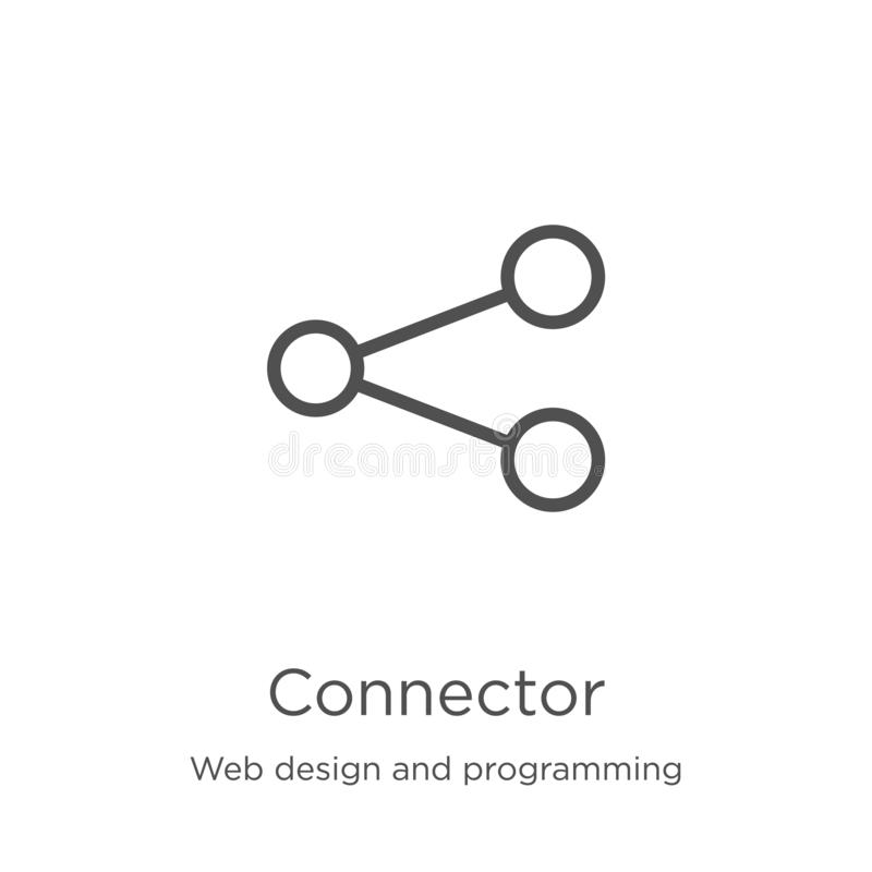Connector icon vector from web design and programming collection. Thin line connector outline icon vector illustration. Outline,. Connector icon. Element of web stock illustration