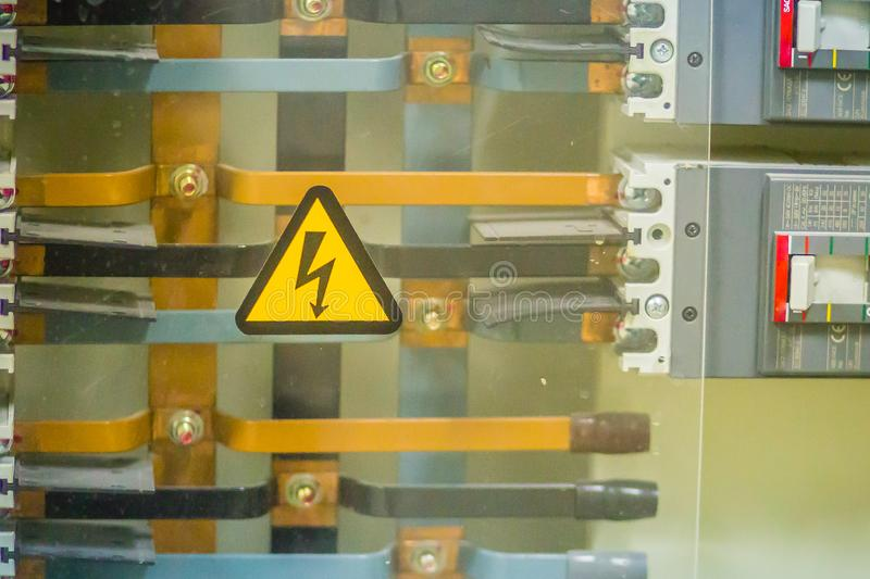 Connectors in the electrical main distribution board unit ,circuit of control panel with selector switch ,automatic switch and stock photography