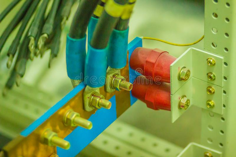 Connectors in the electrical main distribution board unit ,circuit of control panel with selector switch ,automatic switch and royalty free stock photography