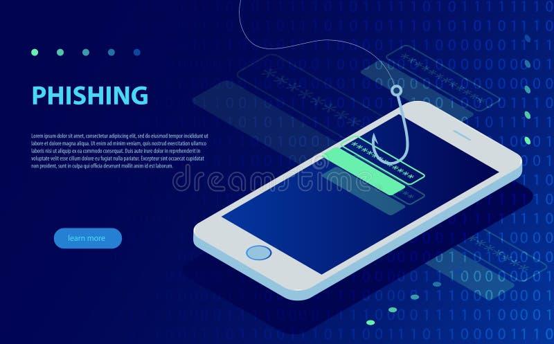 Connessione in considerazione e gancio di pesca Phishing di Internet, connessione incisa e parola d'ordine illustrazione di stock