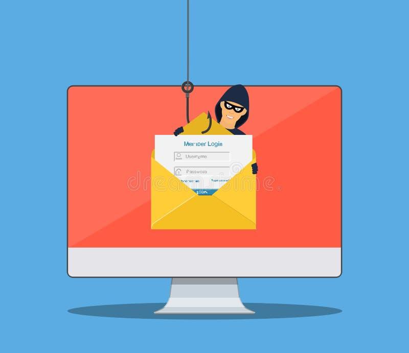 Connessione in considerazione nella busta del email illustrazione vettoriale