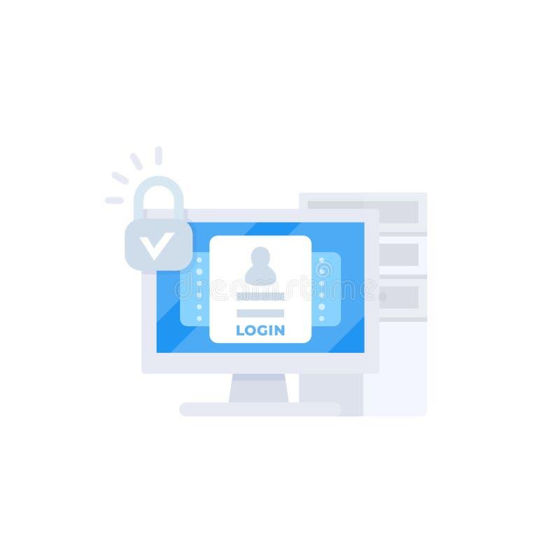 Connessione, illustrazione di vettore di autenticazione illustrazione di stock