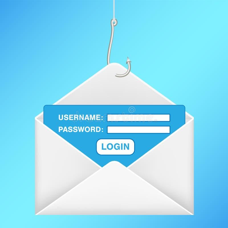Connessione phishing di parola d'ordine di nome utente del email del gancio di pesca illustrazione di stock