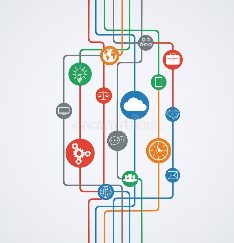 Connessioni di rete, flusso di informazioni con le icone.