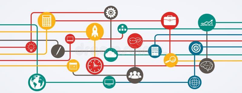 Connessioni di rete, flusso di informazioni con le icone nella posizione orizzontale royalty illustrazione gratis