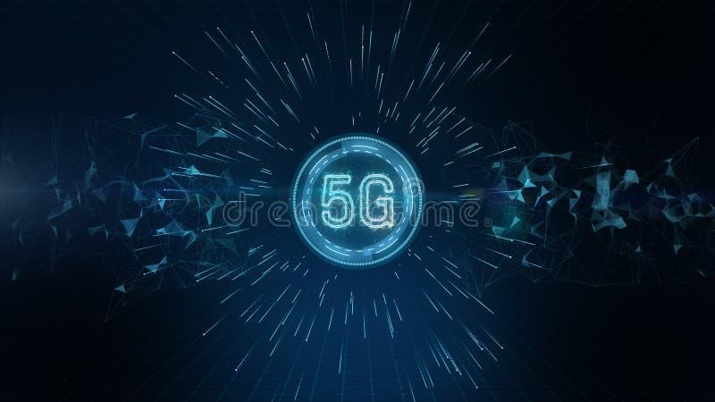 Connettività 5G di dati digitali e tecnologie concettuali dell'informazione futuristica mediante intelligenza artificiale AI illustrazione vettoriale