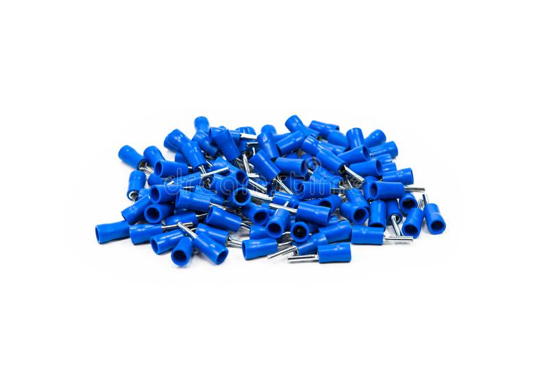 Connettore blu su fondo bianco fotografia stock