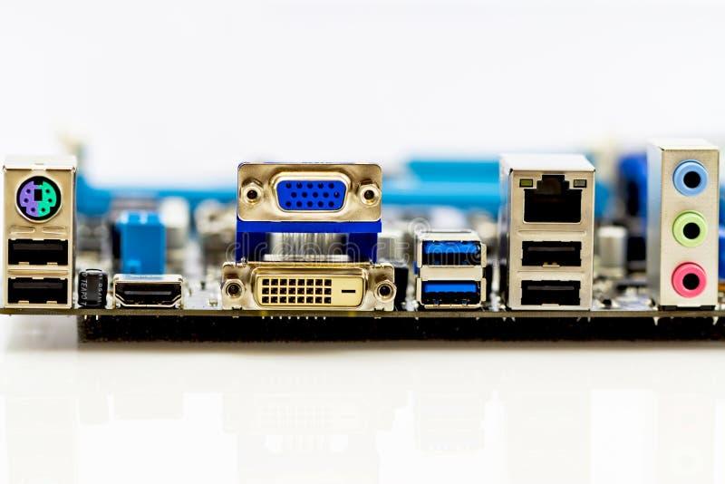 Connettori del comitato posteriore della scheda madre del calcolatore fotografia stock