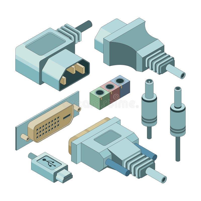 Connettori del computer della spina Passi a VGA di drawnmi l'audio vettore dei collegamenti del porto dell'elettricità e della pr illustrazione vettoriale