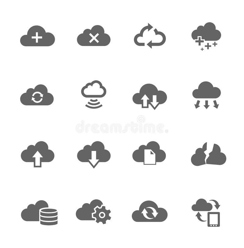 Connexe réglé d'icône simple au nuage de calcul illustration stock