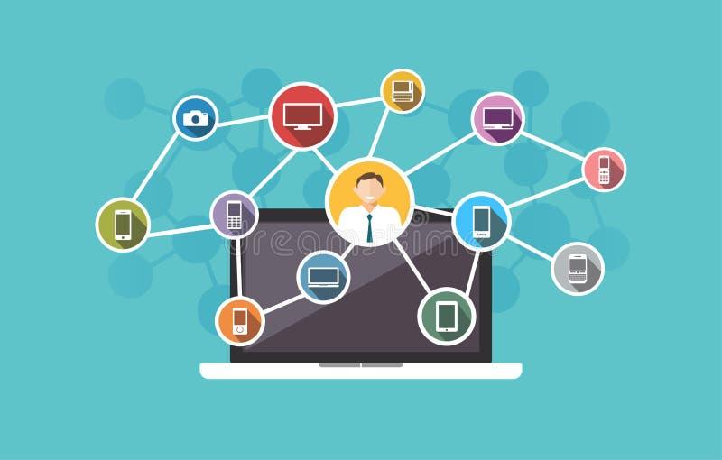 Connexion à travers des dispositifs L'information de technologie illustration libre de droits