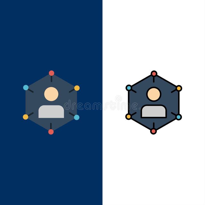 Connexion, communication, réseau, personnes, personnel, social, icônes utilisateur Arrière-plan bleu vectoriel de l'ensemble d'ic illustration de vecteur