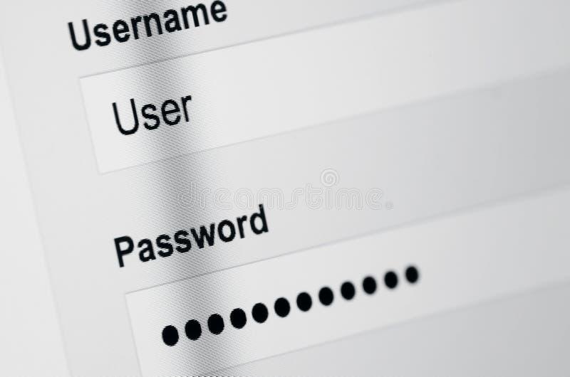 Connexion de l'utilisateur sur l'écran photographie stock