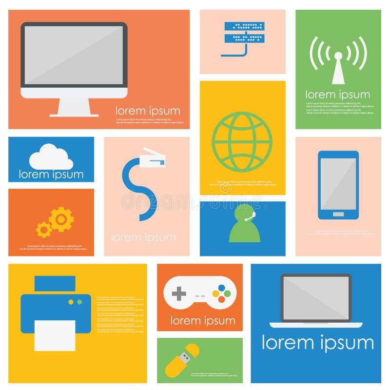 Connexion de réseau informatique et ensemble futé d'icône de dispositif illustration libre de droits