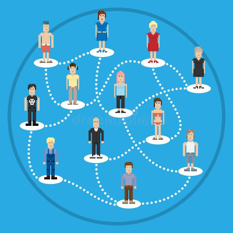 Connexion de social de personnes de pixel illustration stock