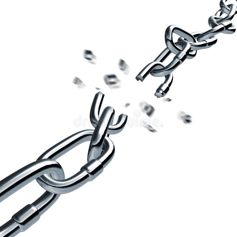 Connexion disconnected cassée de rupture à chaînes de tige illustration libre de droits